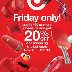 Target Black Friday Promo: 20% off coupon w/ $50