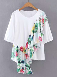 SheIn Women's Floral Print Ruffle Trim Top for $9
