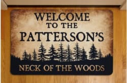 Personalized Neck of the Woods Doormat for $10
