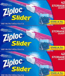 126 Ziploc Slider Quart Storage Bags $6