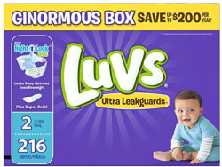 216 Luvs Ultra Leakguards Size 2 Diapers for $14