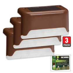 Ideaworks Solar Powered Deck Lights 3-Pack for $17