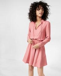 Express Women's Tie Neck Long Sleeve Dress for $36
