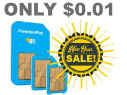 FreedomPop 4G SIM Kit w/ 4GB Data for 1 cent