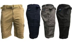 Men's 7-Pocket Slim Fit Cargo Shorts w/ Belt $15