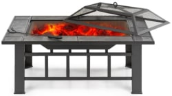 iKayaa Metal Patio Fire Pit with Grill for $78
