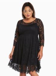 Torrid Women's Lace V-Hem Skater Dress for $48