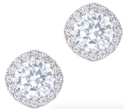 18K White Gold-Plated Cubic Zirconia Earrings $18