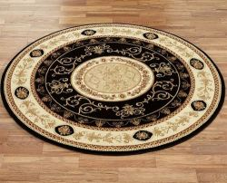 "Rose and Scroll Aubusson 63"" Round Rug for $169"