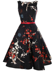 SheIn Women's Floral Flare Dress with Belt for $19