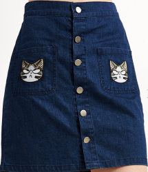 SheIn Women's Cat Embroidery Denim Skirt for $21