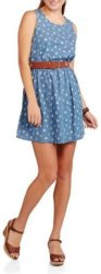 Derek Heart Juniors' Denim Skater Dress for $5