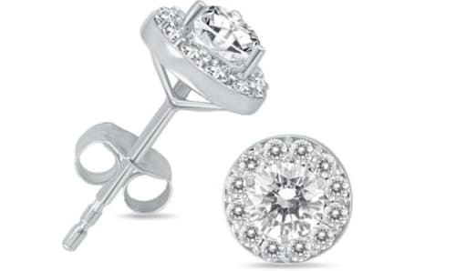 1-TCW Diamond Halo Earrings in 14K White Gold for $479 + free shipping