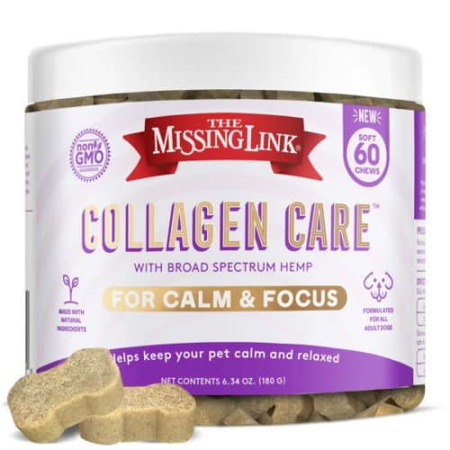 The Missing Link Collagen Care Calm and Focus Dog Treats 60-Count Bottle for $15 + $1 s&h