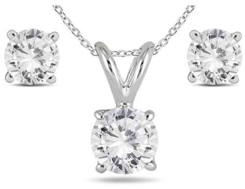 Szul 1-Carat Diamond Pendant and Earring Set in 14K White Gold for $499 + free shipping