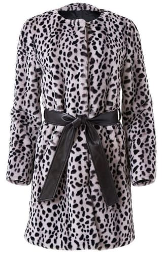 Venus Women's Faux Fur Animal Print Coat for $45 + free shipping w/ $75