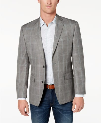 Michael Kors Men's Classic-Fit Grey Plaid Sport Coat for $40 + free shipping