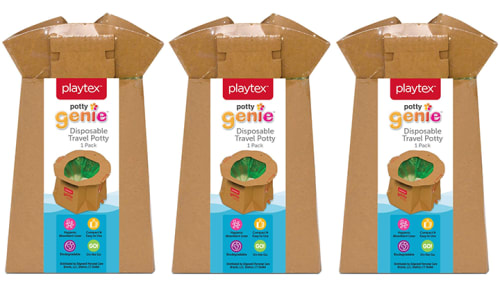 Playtex Potty Genie Disposable Travel Potty 3-Pack for $9 + free shipping