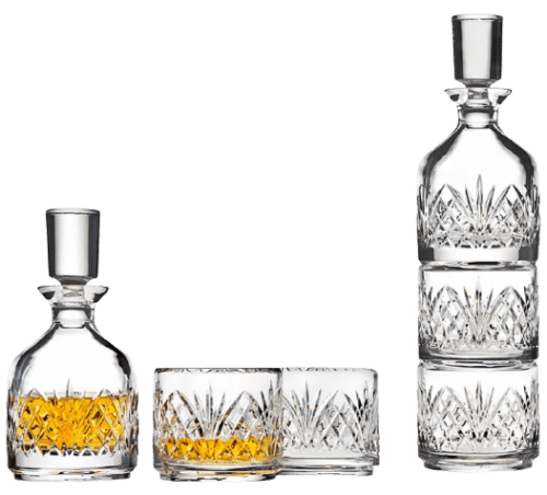 Godinger Dublin Stackable Crystal Whiskey Decanter w/ 2 Glasses for $28 + free shipping