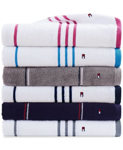 Tommy Hilfiger Modern American Cotton Mix and Match Bath Towel Collection from $4 + free shipping w/ $25