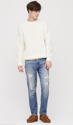 Uniqlo Men's Distressed Slim-Fit Jeans for $15 + free shipping w/ $99