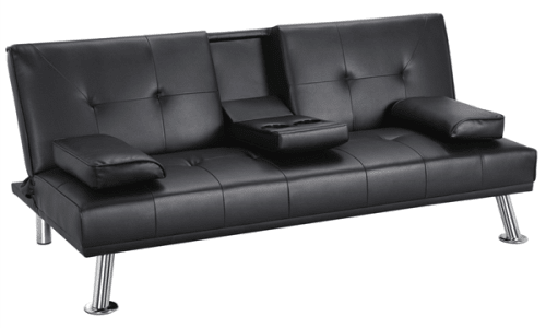 LuxuryGoods Modern Faux Leather Futon for $159 + free shipping