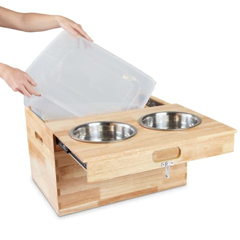 Harmony Elevated Double Diner with Storage for Dogs for $32 via pickup + pickup