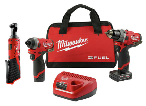 Milwaukee M12 Fuel Cordless Hammer Drill & Impact Driver Combo Kit w/ Ratchet for $229 + free shipping