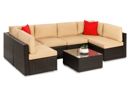 Best Choice Products 7-Piece Modular Wicker Sectional Conversation Set for $550 + free shipping