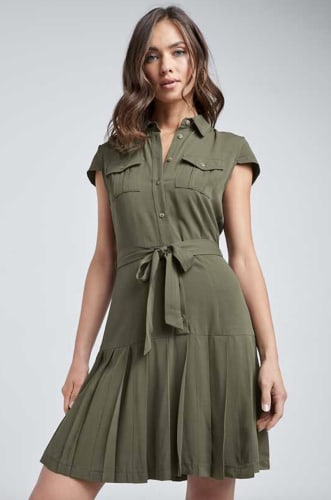 Venus Women's Pleated Shirt Dress for $20 + free shipping w/ $75