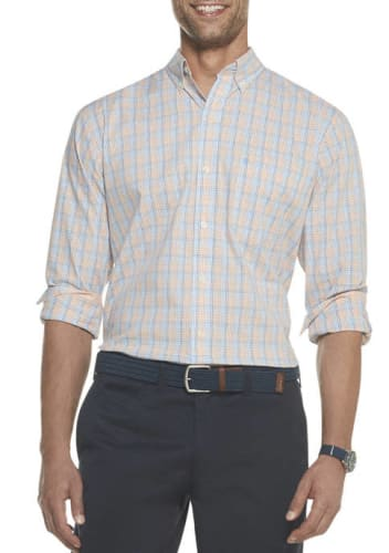 IZOD Men's Premium Essentials Stretch Plaid Button Down Shirt for $8 + free shipping w/ $49