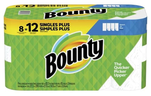 Bounty Select-A-Size 2-Ply Singles Plus Paper Towel Rolls 8-Pack for $11 + pickup