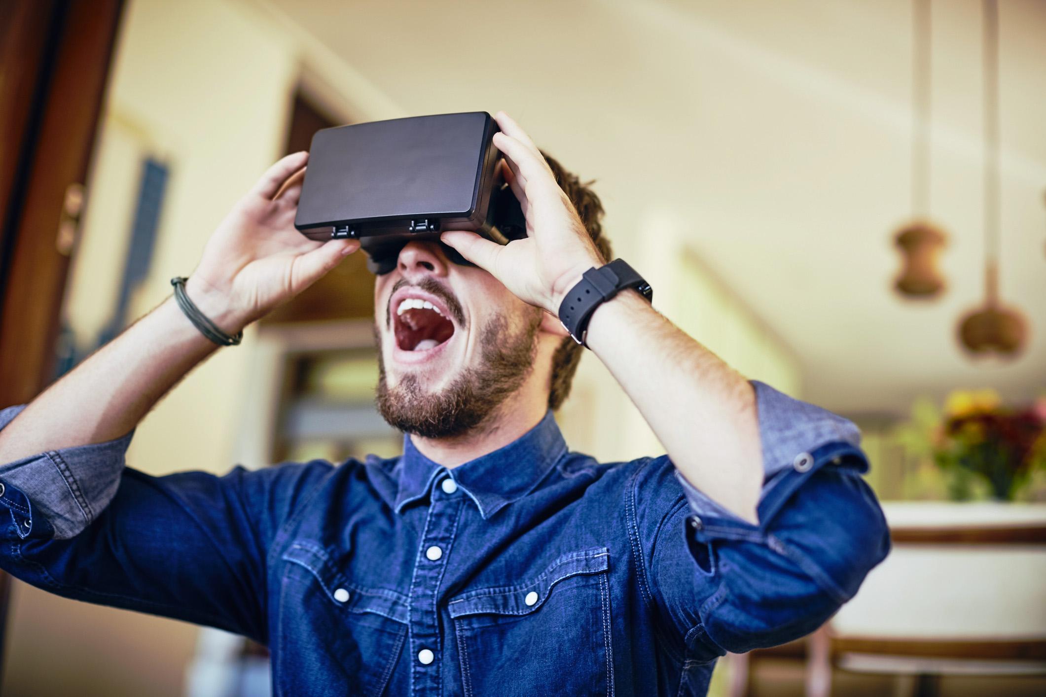 Man Playing Virtual Reality Game