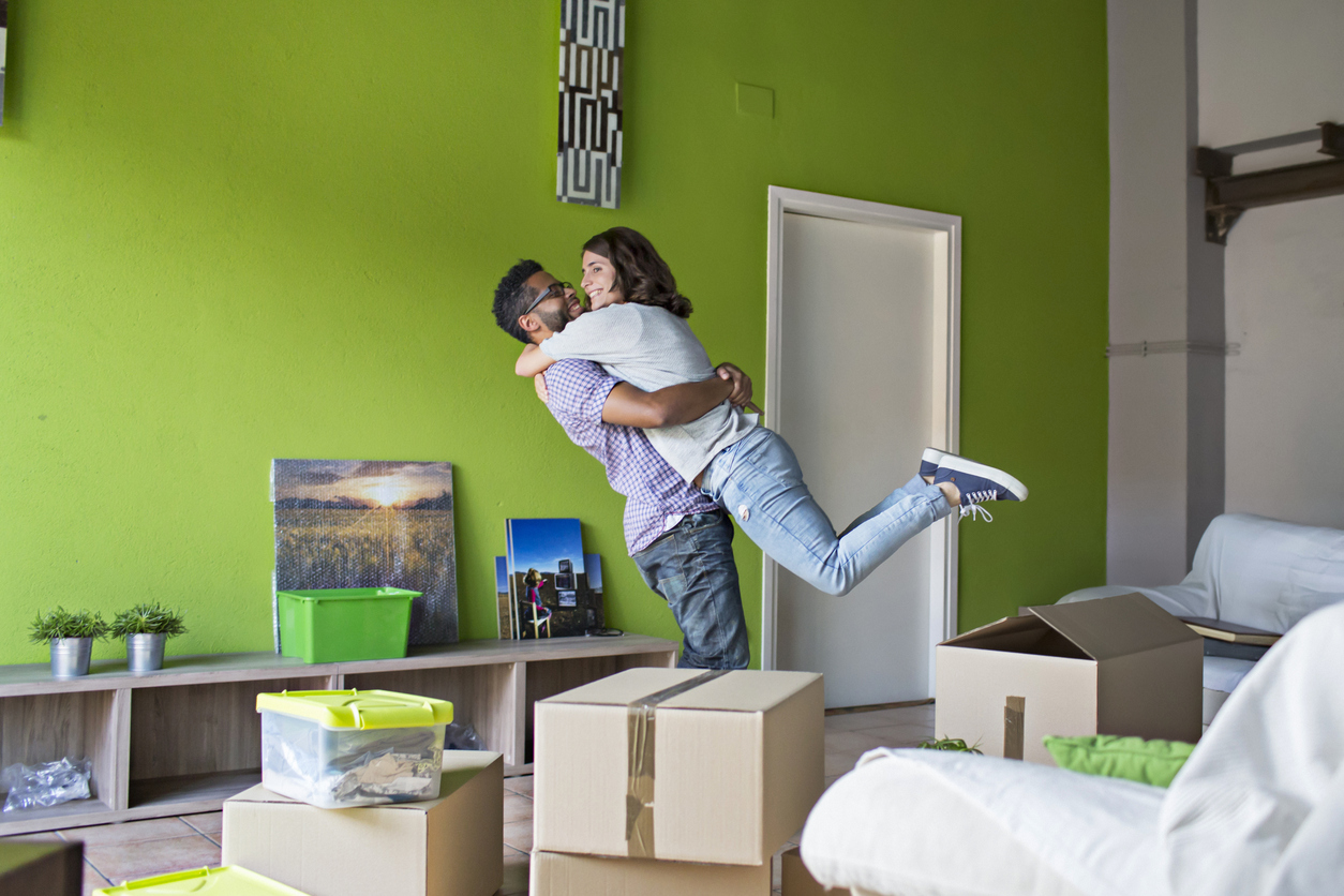 couple in new apartment
