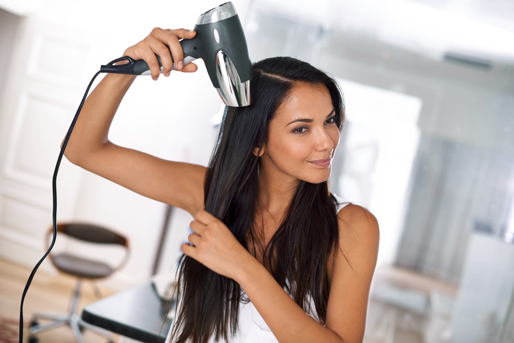 using hair dryer